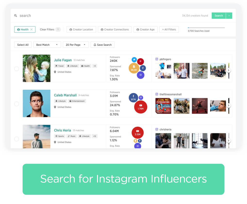 Search for Instagram Influencers
